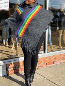 Grey Patchwork Tassel Rainbow Print Hooded Long Sleeve Cute Blouse Poncho Jacket