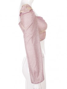 Pink Bright Wire V-neck Long Puff Sleeve Crop Draped Cute Blouse