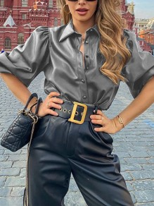 Grey Single Breasted PU Leather V-neck Long Sleeve Elegant Blouse