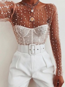 White Patchwork Pearl WIth Rhinestones Round Neck Long Sleeve Sheer Cute Blouse