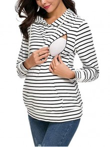 White Striped Drawstring Pockets Others Long Sleeve Fashion Cardigan Sweatshirt