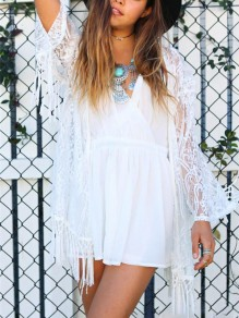 White Patchwork Lace Tassel Long Sleeve Bohemian Outerwears