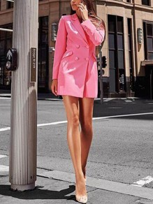 Pink Double Breasted Tailored Collar Long Sleeve Fashion Sweet Comfy Slim Long Blazer