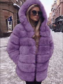 Purple Faux Fur Pockets Hooded Bubble Hooded Cardigan Coat