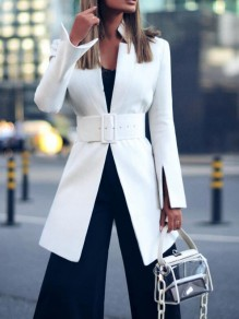 White Belt Band Collar Double Slit Long Sleeve Elegant Party Blazer Cardigan Coat