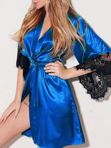 Blue Patchwork Lace Belt Sleepwear V-neck Elbow Sleeve Satin Pajamas Robe