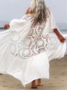 White Patchwork Lace Cover Up Bikini Smock Short Sleeve Fashion Outerwear