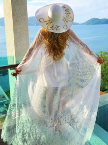 White Patchwork Lace Beachwear Kimono Cover Up Chiffon Coat