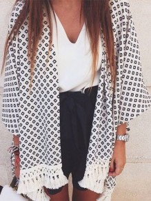 White Black Geometric Tassel Beachwear Three Quarter Length Sleeve Coat