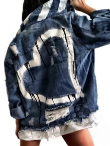 Dunkelblaues Patchwork Tropfendes Herz Denim Distressed Langarm Mode Oberbekleidung