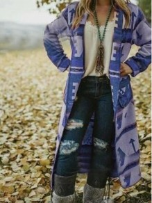 Blue Geometric Aztec Print Pockets Long Sleeve Christmas Boho Country Casual Cardigan Coat