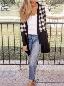 Black-White Plaid Draped Long Sleeve Christmas Casual Cardigan Coat