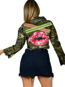 Camouflage Lips Reflective Strip Buttons Pockets Long Sleeve Casual Outerwear