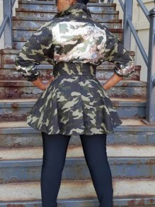 Army Green Camouflage Sequin Sashes Turndown Collar Pockets Peplum Denim Casual Coat