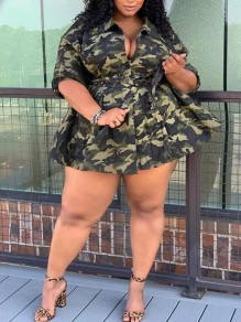 Army Green Camouflage Sashes Turndown Collar Pockets Peplum Plus Size Denim Casual Coat