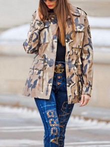 Camouflage Embroidery Stickers Rivet Pockets Buttons Denim Long Sleeve Casual Outerwear