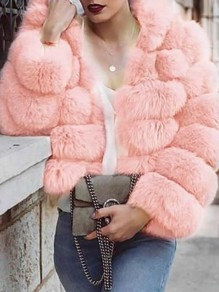 Blush Pink Faux Fur Hooded Fuzzy Puffer Bubble Cardigan Coat