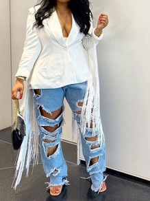 White Tassel Buttons Pockets Long Sleeve Elegant Party Outerwear