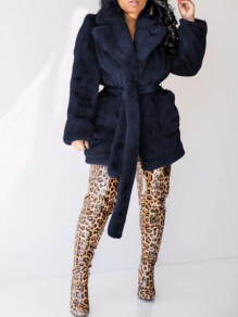 Royal Blue Faux Fur Sashes Pockets Turndown Collar Fuzzy Teddy Cardigan Coat