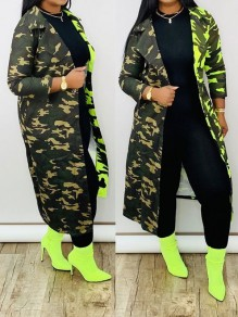 Green Camouflage Pockets Long Sleeve Casual Outerwear