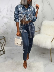 Blue Cut Out Distressed Ripped Tassel Denim Casual Outerwear