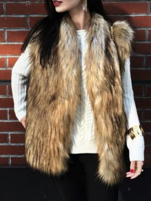 Brown Fuzzy Fatigue Fur Belt Pockets Casual Vests Outerwear