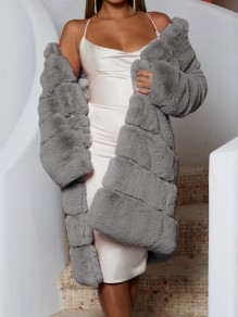Grey Faux Fur Bubble Long Sleeve Fluffy Thick Fur Coat Teddy Long Outerwear
