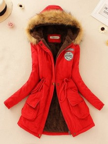 Red Patchwork Pockets Zipper Latest Women Hooded Long Sleeve Fashion