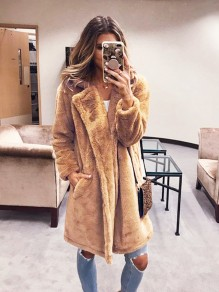 Camel Patchwork Pockets oversize Turndown Collar Long Sleeve Fashion Outerwears