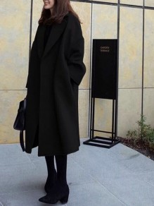 Black Plain Pockets Oversize Long Sleeve Turndown Collar Fashion Coat