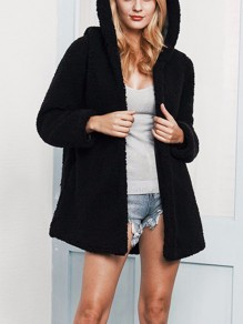 Black Patchwork Lamb Wool Long Sleeve Hooded Fashion Outerwear