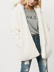 White Patchwork Lamb Wool Long Sleeve Hooded Fashion Outerwear