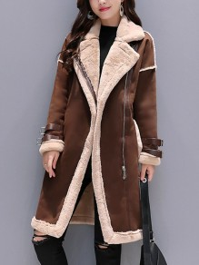Coffee Patchwork Teddy Zipper Studded Long Sleeve Fashion Outerwear