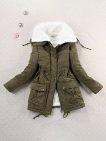 Green Patchwork Drawstring Pockets Lamb Wool Long Sleeve Fashion Outerwear