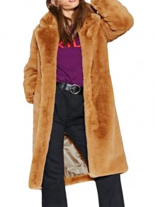 Camel Faux Fur Pockets New Fashion Latest Women Vintage Coat