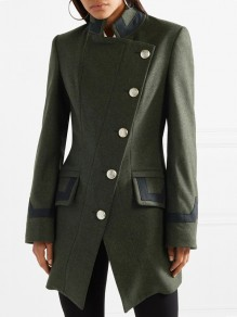 Olive Patchwork Buttons Band Collar Long Sleeve Vintage Wool Coat