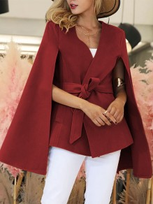 Red Belt New Fashion Latest Women Elegant Cape Cloak Wool Coat