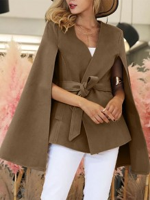 Coffee Plain Belt New Fashion Latest Women Elegant Wool Coat