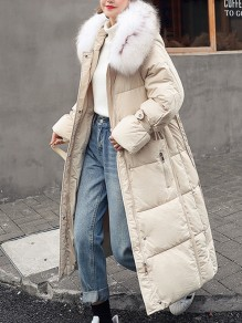 White Patchwork Pockets Zipper Comfy Hooded Long Sleeve Fashion Outerwear