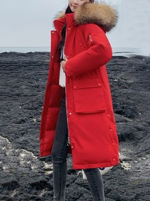 Red Patchwork Size Zipper Buttons Pockets Hooded Fashion Outerwear
