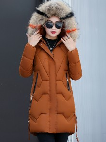 Brown Patchwork Fur Hooded Long Sleeve Fashion Padded Coat
