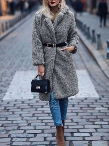 Grey Patchwork Wool Turndown Collar Long Sleeve Fashion Outerwear