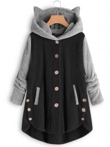 Black Patchwork Buttons Hooded Long Sleeve Cute Lamb Wool Coat