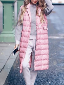 Pink Patchwork Pockets Turndown Collar Sleeveless Fashion Padded Coat