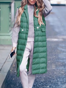 Green Patchwork Pockets Turndown Collar Sleeveless Fashion Padded Coat