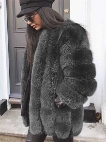 Dark Grey Patchwork Faux Fur Comfy Band Collar Long Sleeve Outerwear