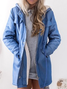 Blue Patchwork Pockets Hooded Long Sleeve Fashion Padded Coat
