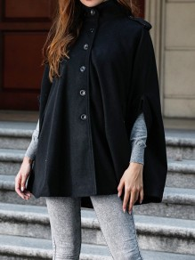Black Patchwork Buttons New Fashion Latest Women Band Collar Vintage Cape