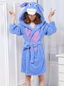 Blue Patchwork Print Belt Sleepwear Hooded Long Sleeve Cute Outerwear