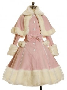 Pink Patchwork Bow Fur Turndown Collar Long Sleeve Cute Wool Coat